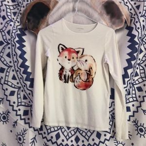 Fox and bunny white long sleeve t shirt.